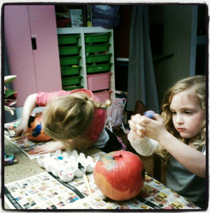 painting pumpkins for halloween washable paint fun