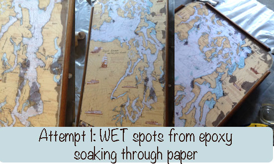 wet spots paper bar table top epoxy mod podge spray adhesive