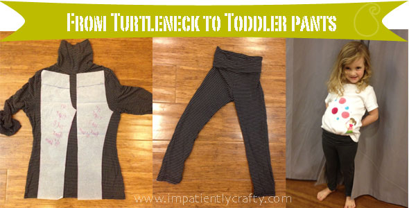 upcycled turtleneck into toddler yoga pants