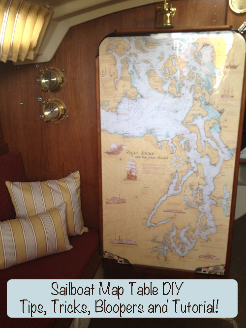 Bar top epoxy map table laminated sail boat