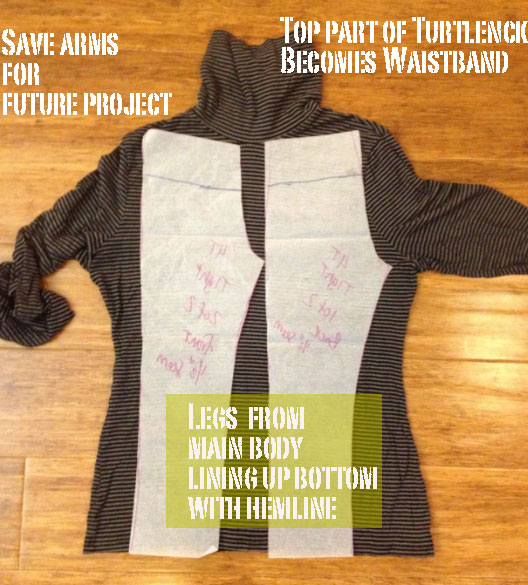 upcycled turtleneck jersey toddler pants wine holder