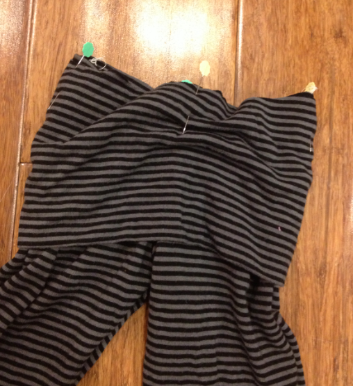 sewing yoga waistband from turtleneck toddler pant