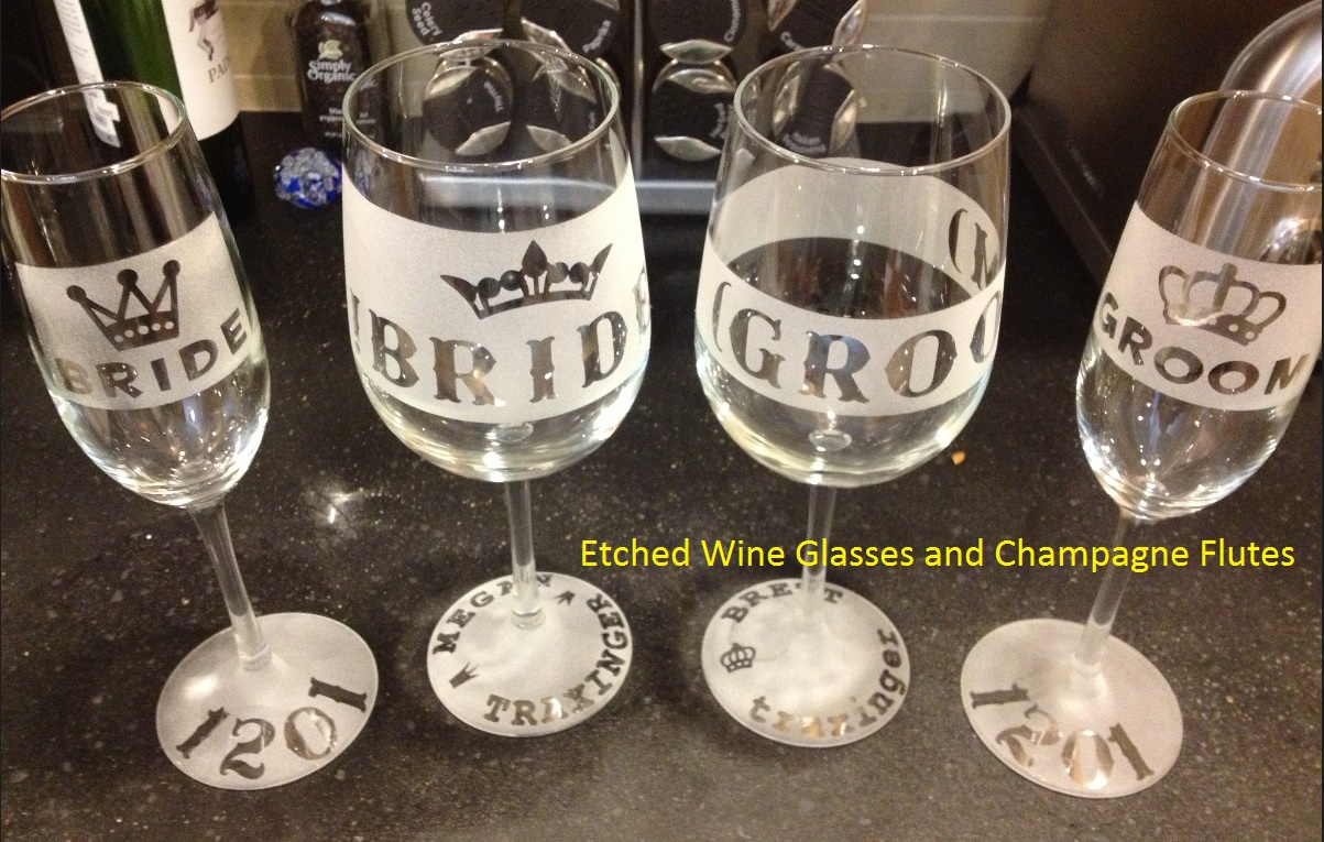 stickers ready for etched wine glass weddding bride groom custom - Etched Wine Glasses